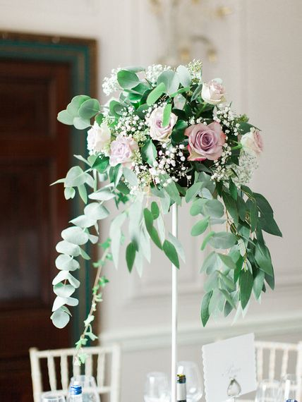 Elegant Rose & Foliage Tall Floral Arrangement Centrepiece   A Romantic Pastel Wedding at Dauntsey Park in the Wiltshire English Countryside   Imogen Xiana Photography