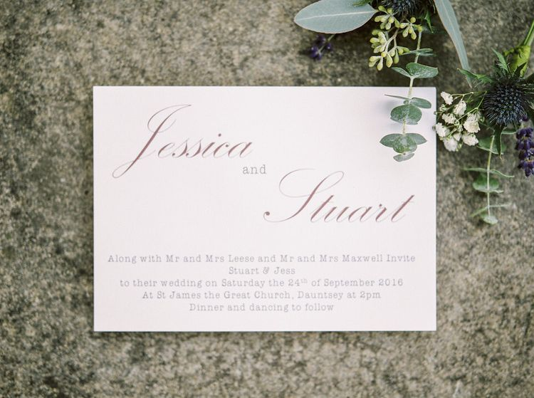 Elegant Wedding Stationery   A Romantic Pastel Wedding at Dauntsey Park in the Wiltshire English Countryside   Imogen Xiana Photography