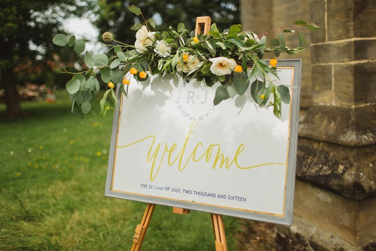Welcome Sign with Floral Garland