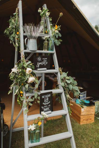 Vintage Step Ladder Wedding Decor