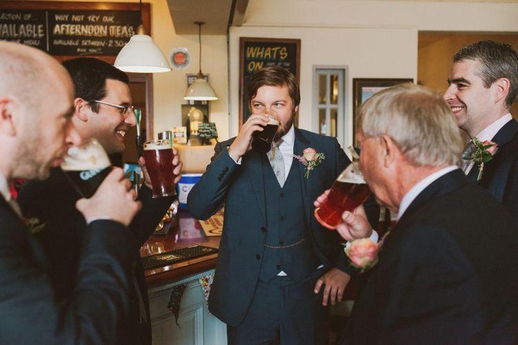 Groomsmen Drinking Pints