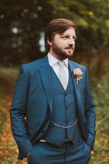 Groom In Navy Paul Smith Suit