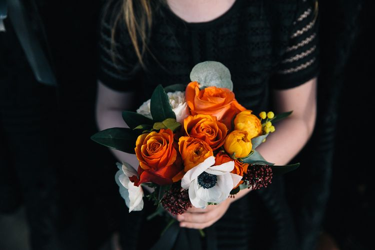 Brightly Coloured Bouquet In Oranges & Reds