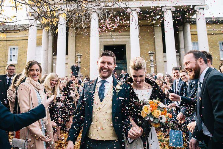Bride In Bespoke Wedding Dress & Bridesmaids In Black For A Stylish East London Wedding