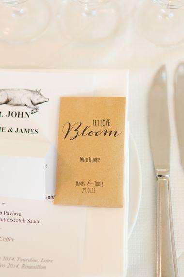 Let Love Bloom Seed Wedding Favours in Brown Envelopes