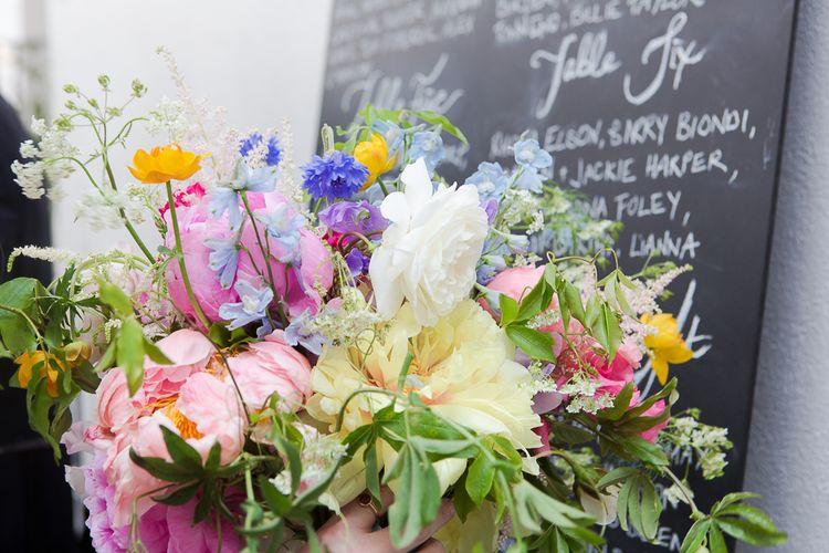 Chalkboard Wedding Sign & Bright Flowers Wedding Decor