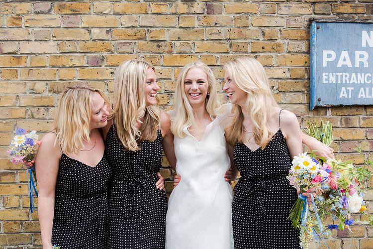 Bridesmaids in Black & White Polka Dot Topshop Boutique Dresses