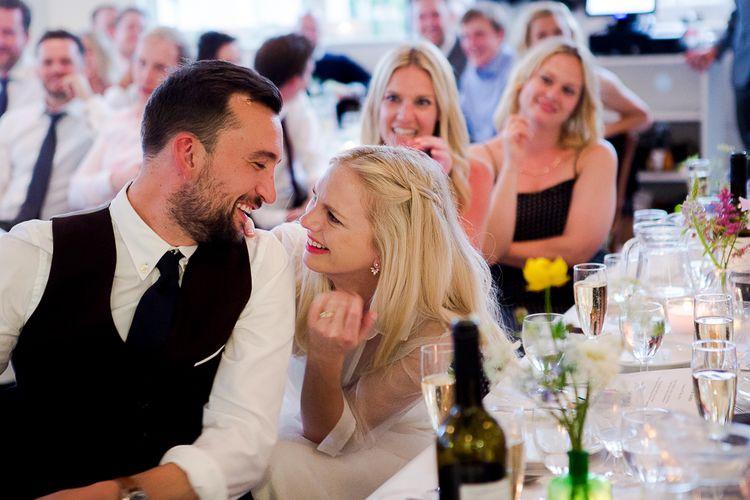 Bride & Groom During Wedding Speeches