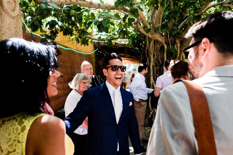 Groom in Simon Dowling Bespoke Suit | Outdoor Ceremony at Boojum Tree in Phoenix, Arizona | Lee Meek Photography