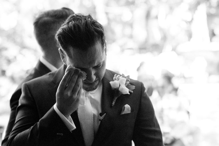Emotional Groom in Simon Dowling Bespoke Suit | Outdoor Ceremony at Boojum Tree in Phoenix, Arizona | Lee Meek Photography