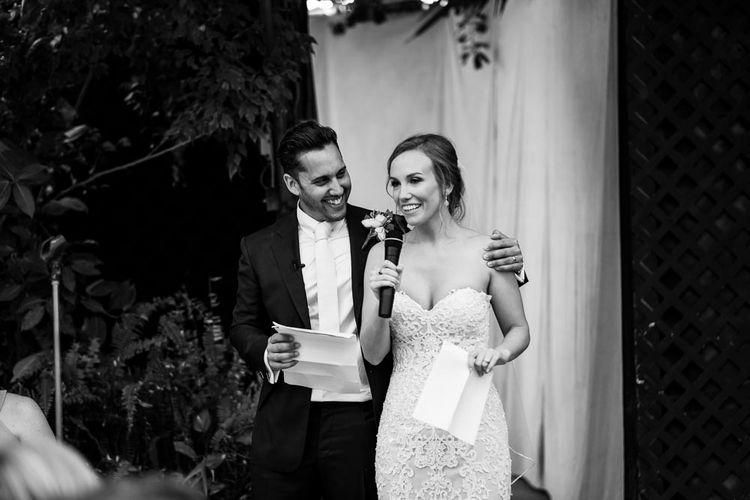 Speeches | Bride in Essense Designs Wedding Dress | Groom in Simon Dowling Bespoke Suit | Outdoor Ceremony at Boojum Tree in Phoenix, Arizona | Lee Meek Photography