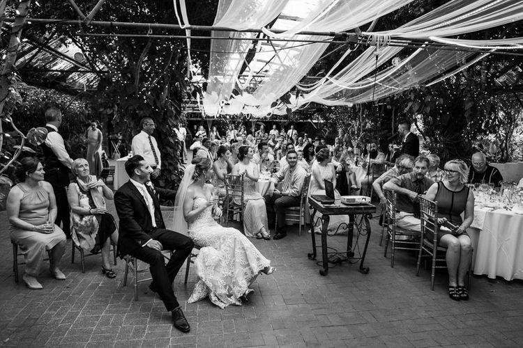 Bride in Essense Designs Wedding Dress | Groom in Simon Dowling Bespoke Suit | Outdoor Ceremony at Boojum Tree in Phoenix, Arizona | Lee Meek Photography