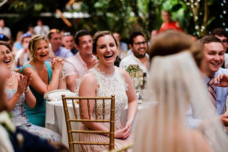 Bridesmaid in Blush Dress | Outdoor Ceremony at Boojum Tree in Phoenix, Arizona | Lee Meek Photography