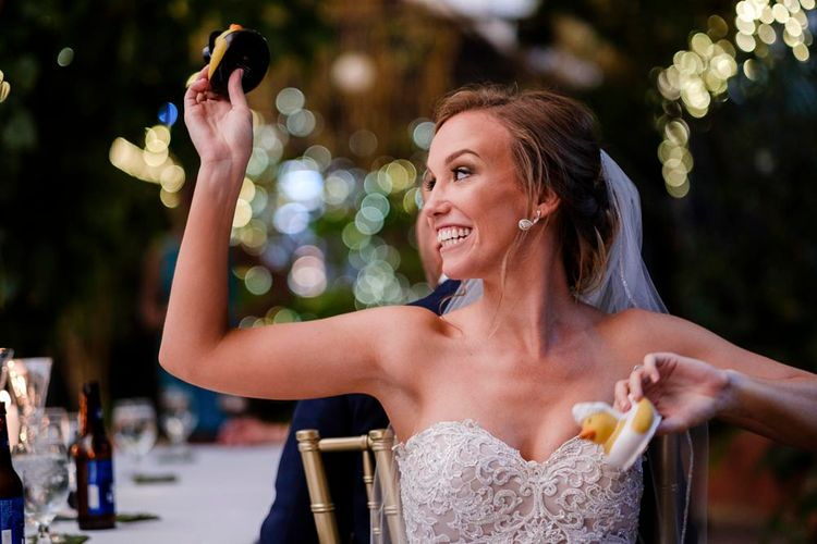 Bride in Essense Designs Wedding Dress | Outdoor Ceremony at Boojum Tree in Phoenix, Arizona | Lee Meek Photography
