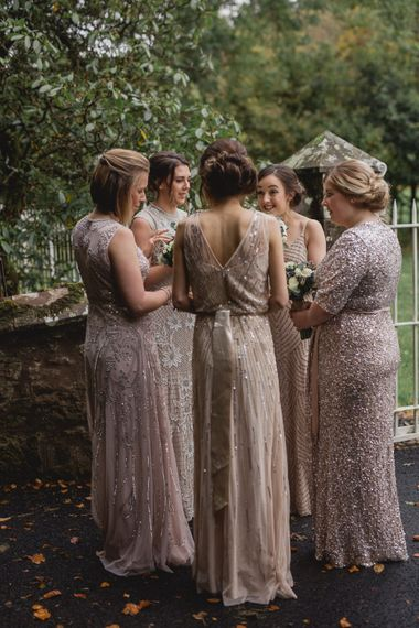 Bridesmaids in Embellished High Street Dresses