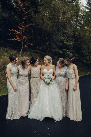 Bridesmaids in Embellished Gowns