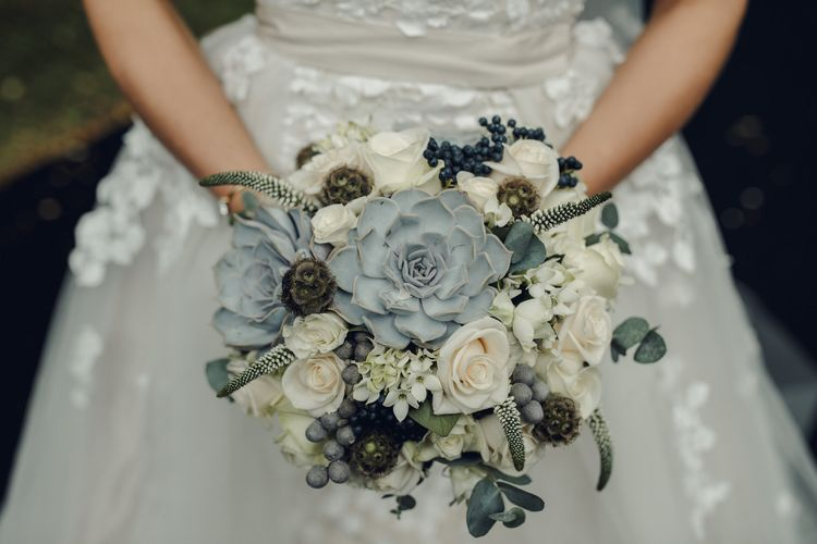 Grey & White Succulent Wedding Bouquet