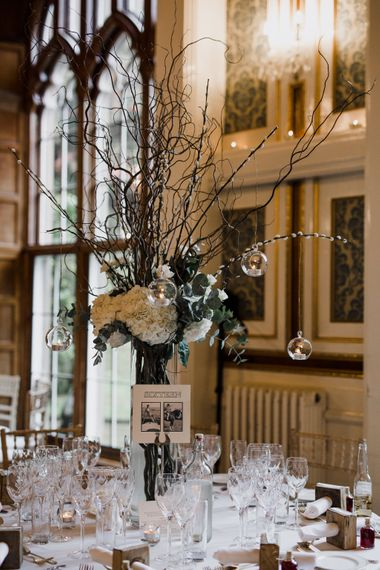 Tall Twig & White Hydrangea Wedding Table Centrepieces