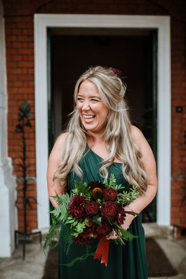 Beautiful Emerald Bridesmaid Dress | Farmhouse at Redcoats | Green Antlers Photography
