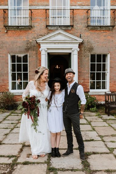 Bride, Groom and Daughter | Farmhouse at Redcoats | Green Antlers Photography