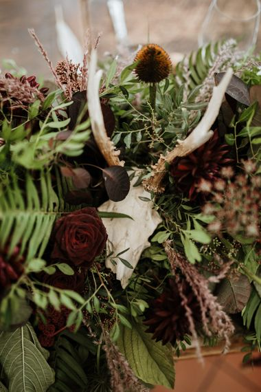 Antler and Skull Decorations | Farmhouse at Redcoats | Green Antlers Photography