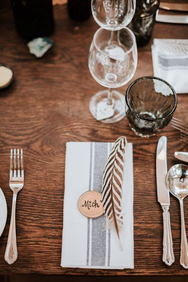 Wedding Table with feathers | Farmhouse at Redcoats | Green Antlers Photography