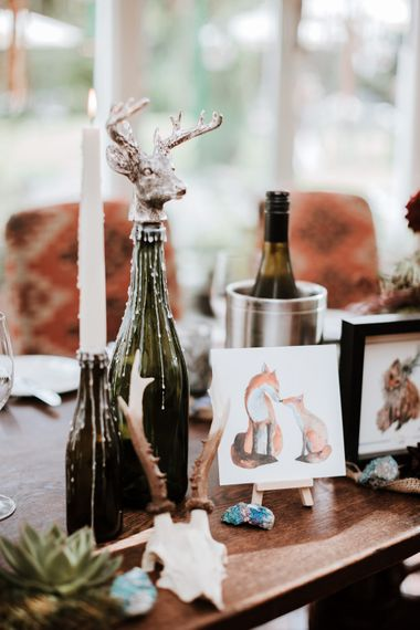DIY Bottle Table Decorations | Farmhouse at Redcoats | Green Antlers Photography