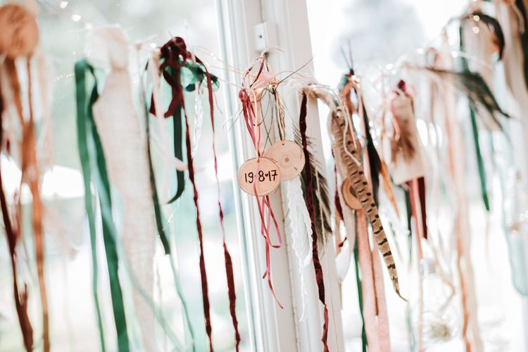 Wedding Ribbon Decorations | Farmhouse at Redcoats | Green Antlers Photography
