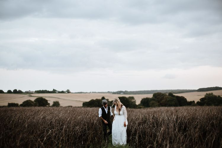 The Bride and Groom | Autumnal colours in Summer | Farmhouse at Redcoats | Green Antlers Photography