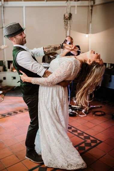 The Bride and Groom Dancing | Autumnal colours in Summer | Farmhouse at Redcoats | Green Antlers Photography