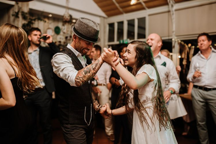 Groom and Daughter Dance | Autumnal colours in Summer | Farmhouse at Redcoats | Green Antlers Photography