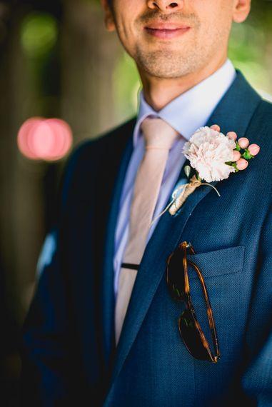 Peach Tie & Buttonhole