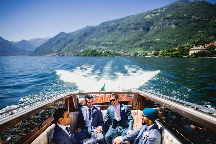 Groomsmen on Speedboat in Navy Suits