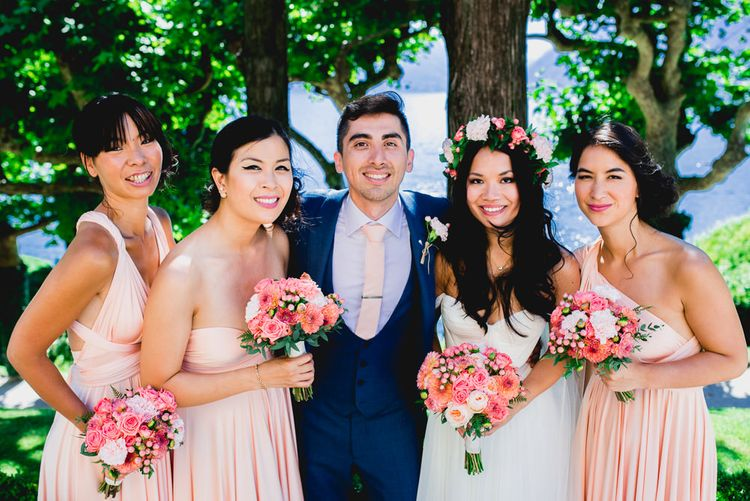 Peach & Navy Wedding Party