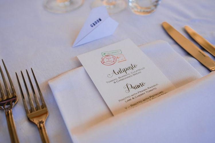 Travel Themed Menu Wedding Stationery