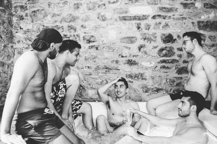 Groomsmen in Hot Tub