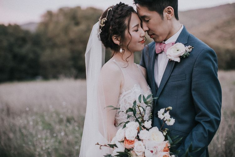 Cherry Blossom Filled Wedding With Bride In Bronze Watters Gown And Painted Floral Veil By BHLDN Venue Union Hill Inn California With Images By Matt Horan Photography