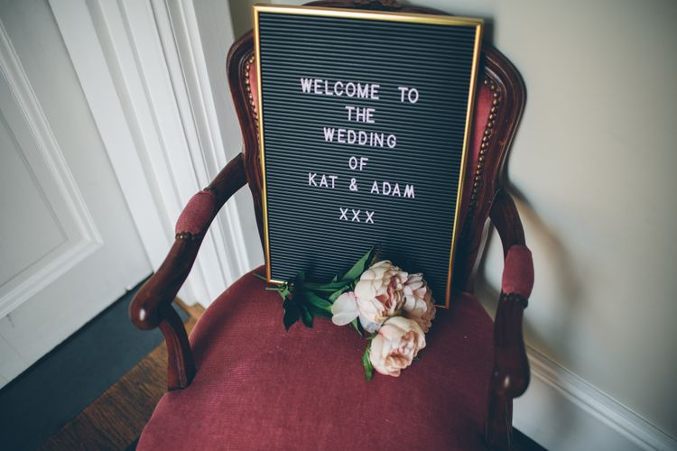 Peg Board Welcome Sign For Wedding