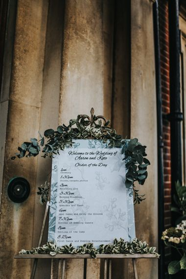 Order of The Day Wedding Sign with Flower Garland