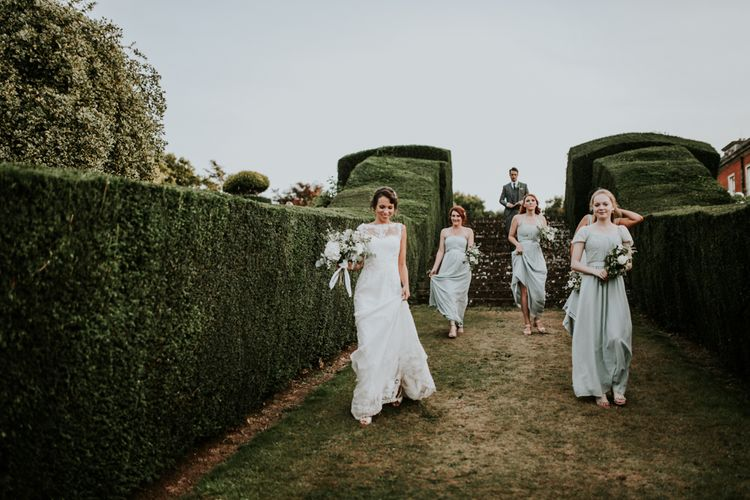 Bridesmaids in Pale Green Debut Dresses