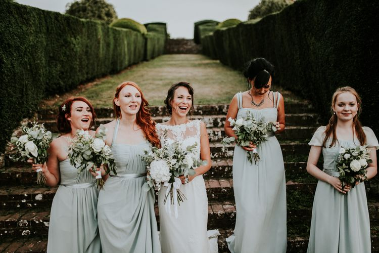 Bridesmaids in Mint Debut Dresses