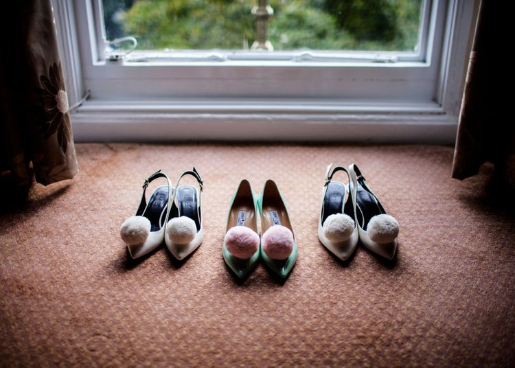 Pompoms Clips On Wedding Shoes
