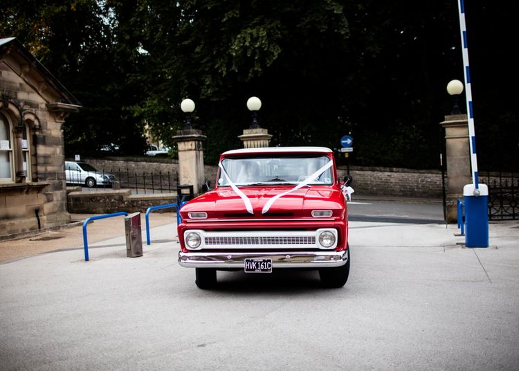 Red Chevy Wedding Car