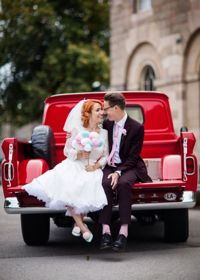 Bride in 50s Inspired Phase Eight Wedding Dress