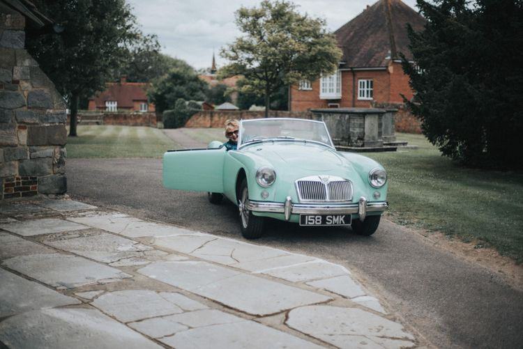 Classic Mint Green Wedding Car
