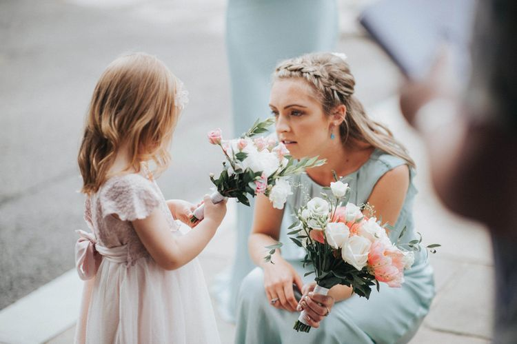 Bridesmaid in Claudia Pastel Green Ghost Gown & Flower Girl