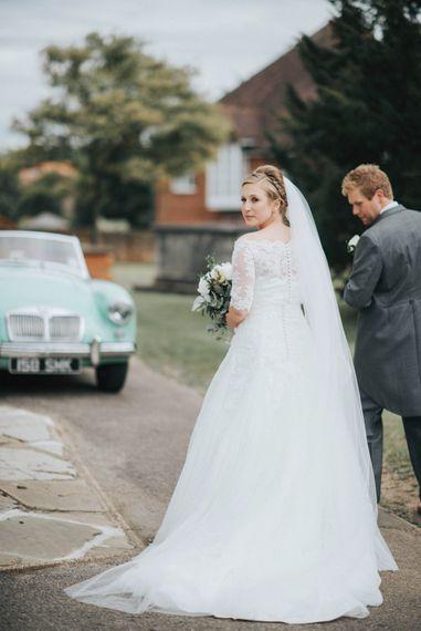 Church Wedding Ceremony with Bride in Pronovias White One Wedding Dress