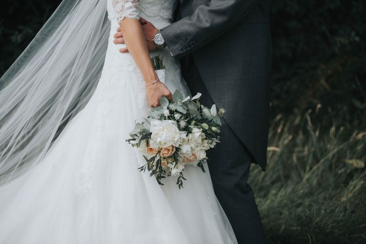 White & Peach Wedding Bouquet
