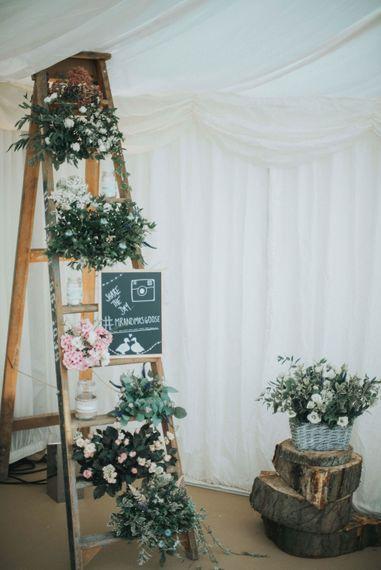 Vintage Step Ladder & Flower Rustic Wedding Decor
