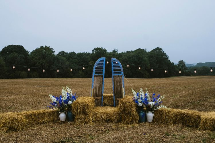 Hay Bale Seating For Rustic Wedding